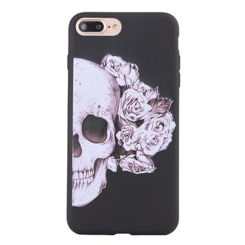 Fashion Gothic Rose Flower Skull Matte Soft Ultrathin TPU Case Phone Case Shell for iPhone 7 Plus