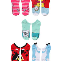 Disney Alice In Wonderland Cosplay No-Show Socks 5 Pair