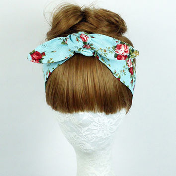 Floral headband, Hair Wrap, workout headband, Hair Accessories, Women's headband, Twist turban, knot headband, yoga headband, headpiece
