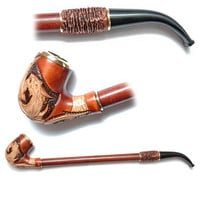 Wooden pipe, Tobacco Pipe, Collection Smoking Pipes. Long Pipe. Wooden Handmade. Wood Pipe - DRAGON