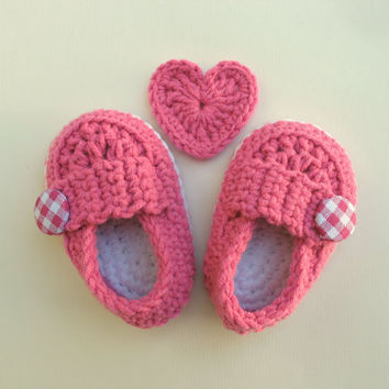 Pink baby shoes, Baby Girl Shoes, Cute button loafers, Baby Booties, Baby Shower gift, Baby shoes in Blossom pink and white trim.