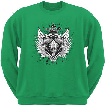 Ram Skull Irish Green Adult Sweatshirt