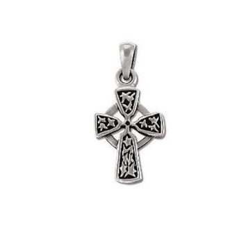 Sterling Silver Oxidized Celtic Cross with Engraved Stars Pendant
