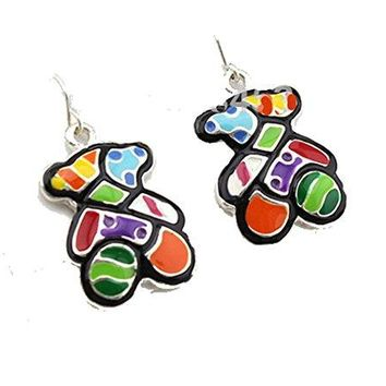 Basket Hill. Autism Teddy Bear (Or Just Colorful Teddy ) Dangle Earrings