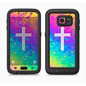 The Vector White Cross v2 over Neon Color Fushion V2 Full Body Samsung Galaxy S6 LifeProof Fre Case Skin Kit