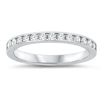 The Classic 1TCW Round Cut Russian Lab Diamond Full Eternity Ring