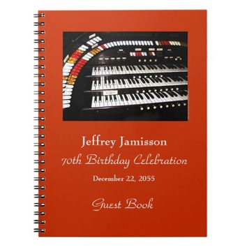 70th Birthday Party Guest Book, Antique Organ Notebook