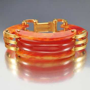Tortoise Shell Bakelite Bracelet, Vintage Art Deco Bakelite Bangle Bracelet, Marbled Bakelite Jewelry, Art Deco Jewelry, Gold Link