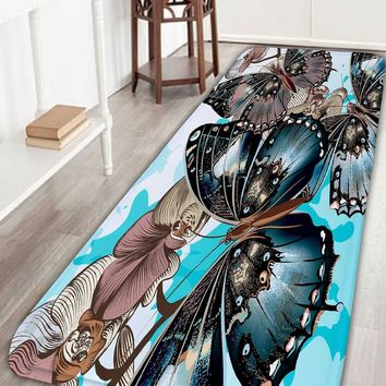 Butterfly Flower Print Skid Resistant Bathroom Rug