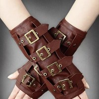 Restyle STEAMPUNK ARM WARMERS Brown Faux Leather