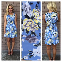 Yellow Rose Print Dress