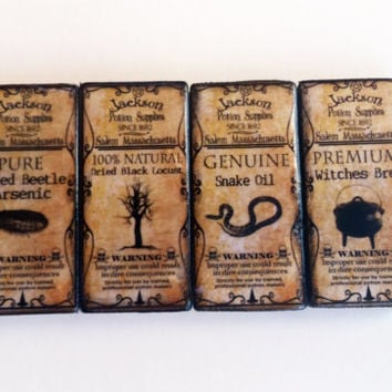 Ceramic Tile Refrigerator Magnets Set of Four Vintage Potion Ingredient Labels