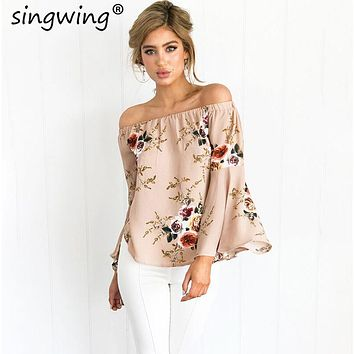 Singwing Women Flare sleeved Blouse Shirt Slash Neck  wrapped chest Sexy Chiffon shirt Casual female Shirts Blouse