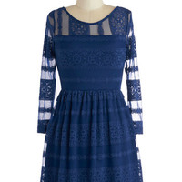 ModCloth Short Long Sleeve A-line A Stunning Start Dress