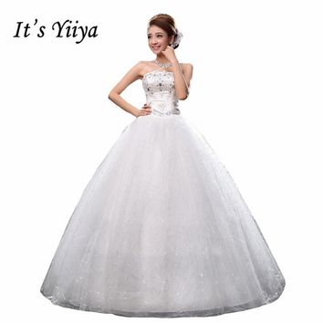 Free Shipping Sequins Waist Fashion Strapless Wedding Dresses Cheap White Bridal Frocks Custom Made Vestidos De Novia MH33