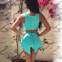 Blue Sleeveless Cut-Out Back Asymmetrical Romper