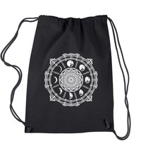 White Phases Of The Moon Compass Drawstring Backpack