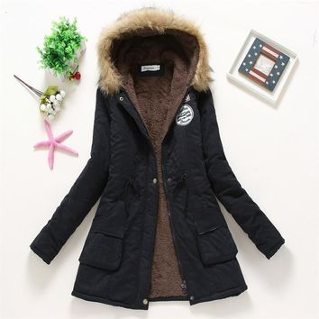 Trendy Winter Jacket STAINLIZARD Thick Women Winter  Fur Casual Cotton Autumn Coats Hooded Long Outwear Outwear Warm er Women  DJT142 AT_92_12
