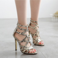 Summer Women Fashion Hollow Snake leather High Help Sandals Heels Shoes