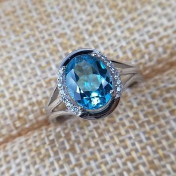 [MeiBaPJ]925 Sterling Silver Inlaid With 3 Carats Natural London Blue Topaz Stone Open Ring for Women
