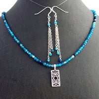 Star of David Apatite Necklace Earrings Set