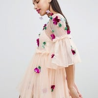 ASOS Embellished Mesh Fluted Sleeve Smock Mini Dress at asos.com