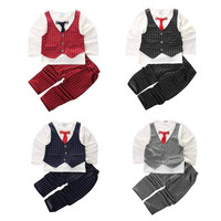 New Summer  Fashion Baby Boy Clothes Sets Gentleman Suit Toddler Boys Clothing Set Long Sleeve Kids Boy Set Christmas Outfits