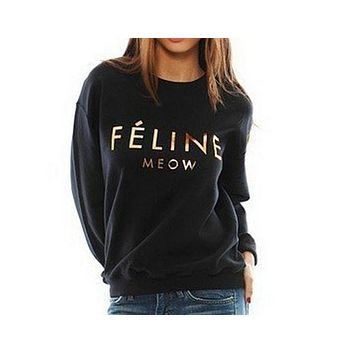 DCCKJ1A Gold printed letters sweater plus velvet sweater Feline Meow [gold plastic]