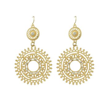 Hollow Out Flower Simulated Rhinestone Earrings