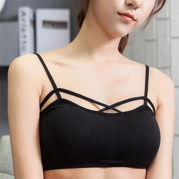 New Sexy Top Bralette Strappy Crochet Cropped Blusas Bandage Halter Tank Tops Camisole Women Cut Out White Bra Bustier Crop