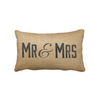 Burlap Vintage Mr & Mrs Wedded Bliss from Zazzle.com