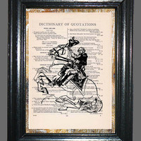 George Washington on his White Horse Revolutionary War - Vintage Dictionary Book Page Art, Upcycled Book Art Print on Dictionary Page