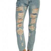 Light Blue Distressed Fade Look Chain Accent Pants