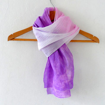 Purple Ombre Scarf, Headband , hand dyed  cotton yemeni  skinny scarf,  summer fashion