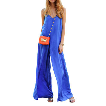 Preself Women Sleeveless Wide Leg Jumpsuit Loose Sexy V Neck Long Playsuit Celeb Fashion Summer Casual Plus Size No package