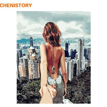 CHENISTORY Romantic Sexy Lover DIY Painting By Numbers Wall Art Acrylic Paint On Canvas Unique Gift For Wedding Decoration 40x50