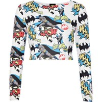 White Batman comic print crop top