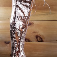 CR Rose Gold Sequin Gladiator Lace Up Over The Knee Flat Boot Sandal