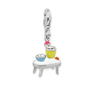 925 Sterling Silver Enameled Table and Bowls with Lobster Clasp Charm