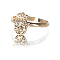 River Island Womens Gold tone hamsa hand ring