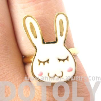 Handmade Cute Bunny Rabbit Shaped Animal Themed Adjustable Ring | Limited Edition