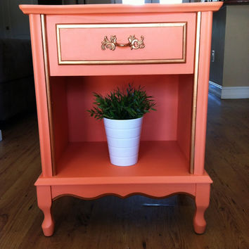 Peach and Gold Nightstand / end table