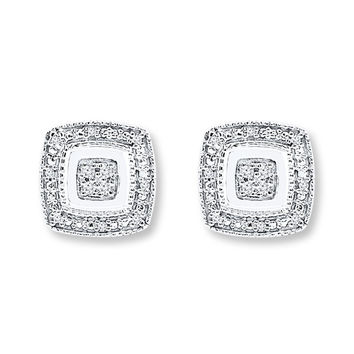 Diamond Earrings 1/20 ct tw Round-cut Sterling Silver