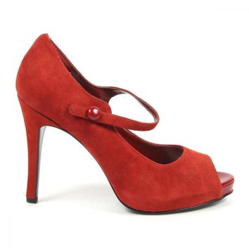 Nine West Womens Pump Open Toe NWLUMINOUS RED RED