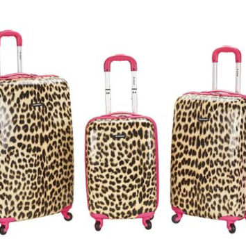 F196-PINKLEOPARD 3Pc Polycarbonate/Abs Upright Luggage Set