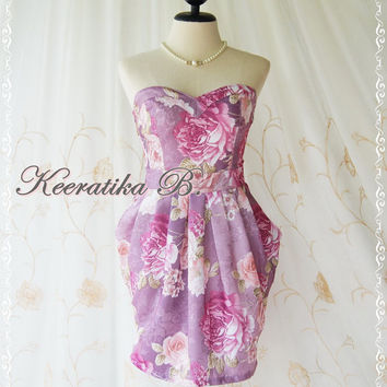 A Lovely Queen - Strapless Romance Classical Floral Dress Party Prom Bridesmaid Cocktail Dinner Wedding Classy Dress