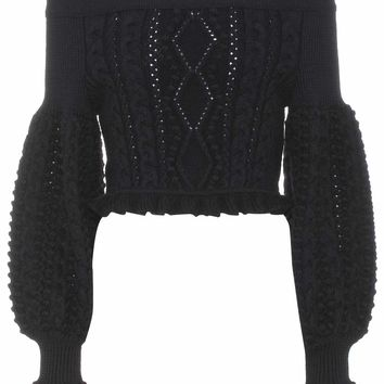 Cropped off-the-shoulder wool sweater