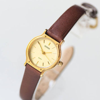 Women's quartz watch Sekonda, classic women watch gold shade, minimalist tiny watch her, girl's watch simple gift, genuine leather strap new
