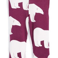 Infant Girl's Zebi Baby Polar Bear Print Organic Cotton Leggings,