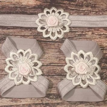 Silver and Pink Rose on Lace Flower Baby Girl Headband and Barefoot Sandal Set!